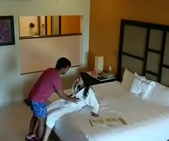 Indian escort prostitute making out hotel room