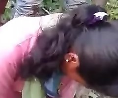 Indian girlfriend screwed by bf together with his friend in jungle