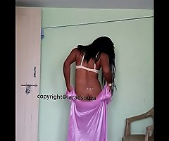 Indian crestfallen ladyboy Lara D'souza in satin nighty