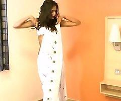 Gujarati Indian College Girl Divya In White Pearl Sari Striptease Dissemble